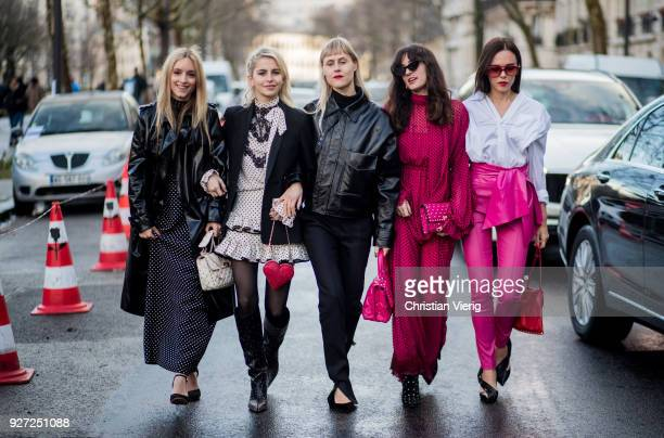 Group of guests is seen outside Valentino during Paris Fashion Week Womenswear Fall/Winter 2018/2019 on March 4 2018 in Paris France