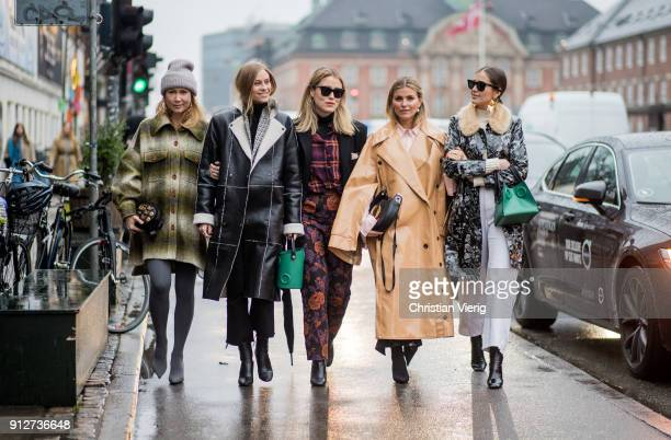 Group of guests outside Anne Vest during the Copenhagen Fashion Week Autumn/Winter 18 on January 31 2018 in Copenhagen Denmark