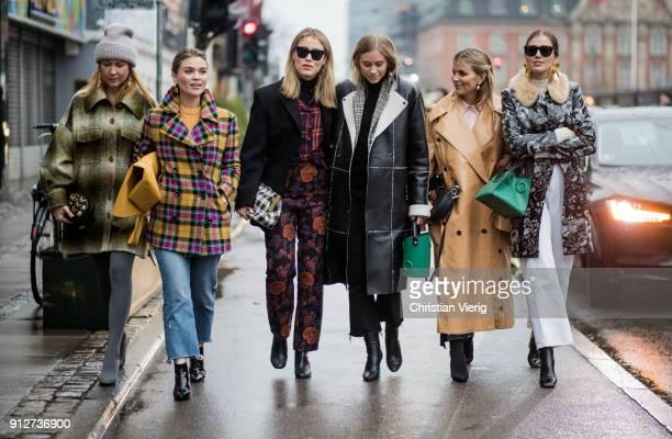 Group of guests outside Anne Vest during the Copenhagen Fashion Week Autumn/Winter 18 on January 31 2018 in Copenhagen Denmark