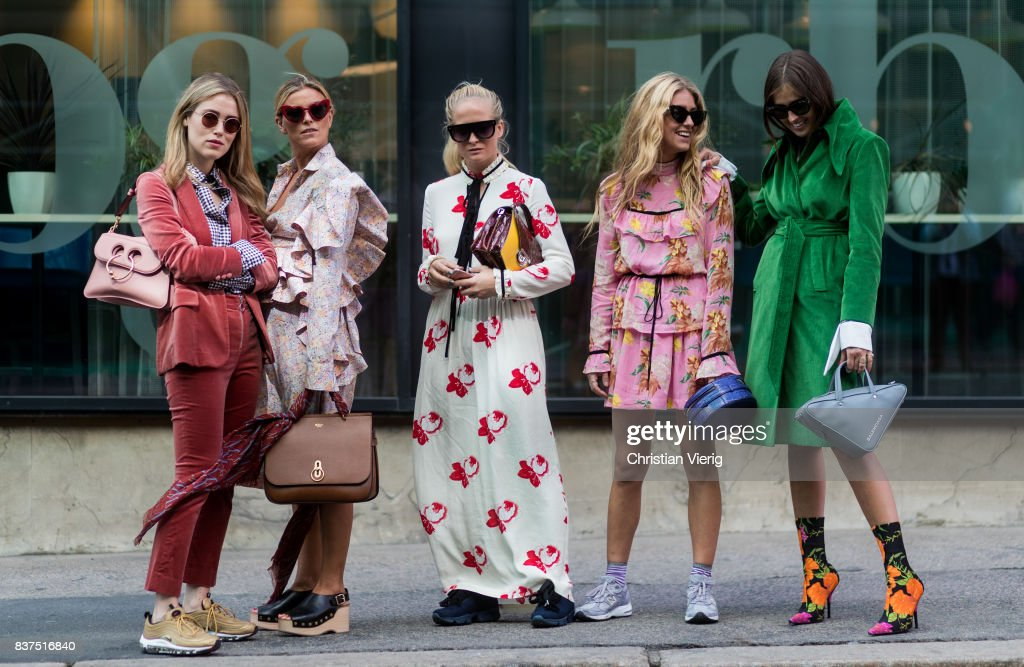 A group of guests outside Moods of Norway on August 22, 2017 in Oslo, Norway.