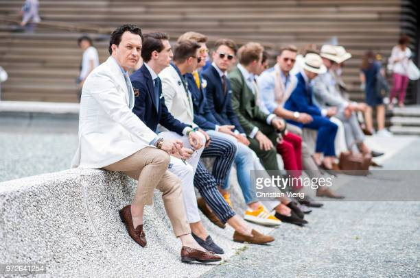 Group of guests seen during the 94th Pitti Immagine Uomo on June 12, 2018 in Florence, Italy