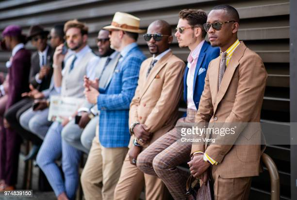 Group of guests seen during the 94th Pitti Immagine Uomo on June 14, 2018 in Florence, Italy.