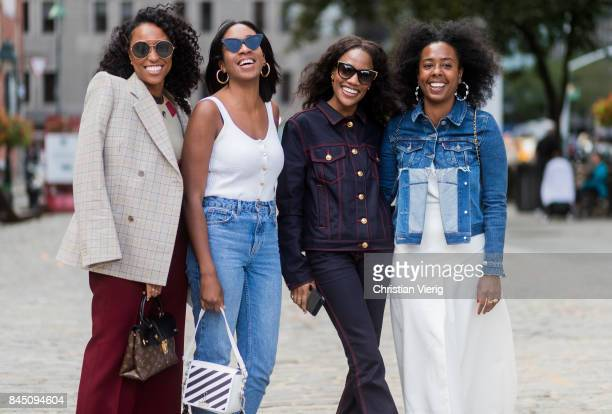 A group of guests seen in the streets of Manhattan outside Tibi during New York Fashion Week on September 9 2017 in New York City