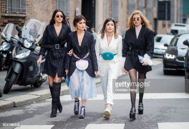 Group of guests seen outside Ermanno Scervino during Milan Fashion Week Fall/Winter 2018/19 on February 24 2018 in Milan Italy