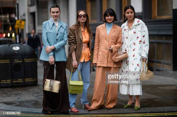 Group of guests seen outside REJINA PYO during London Fashion Week February 2019 on February 18 2019 in London England