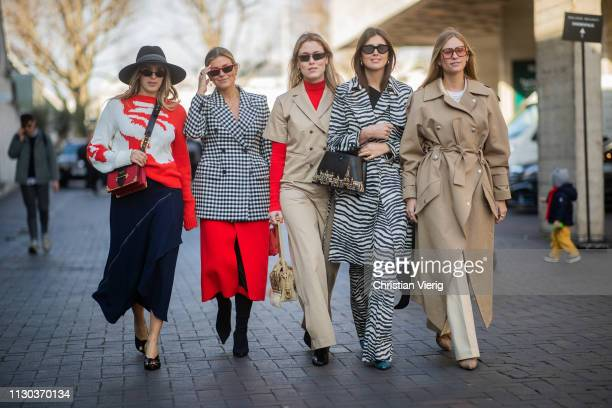 Group of guests seen outside Roland Mouret during London Fashion Week February 2019 on February 17 2019 in London England