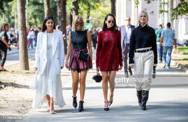Group of guests seen outside the Philosophy show during Milan Fashion Week Spring/Summer 2020 on September 21, 2019 in Milan, Italy.