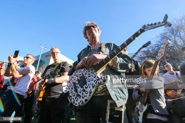A group of guitarists gather outside the Concourse Theatre on August 12 2018 in Sydney Australia The guitarists were attempting to have the largest...