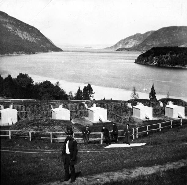 A group of gun emplacements at West Point on the Hudson...