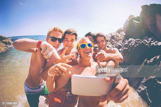 Group of Guys Taking Selfie