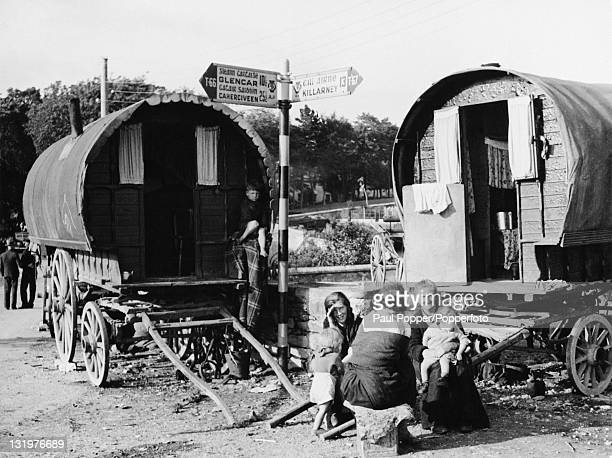 A group of gypsies at a caravan encampment near Killarney in County Kerry Ireland circa 1950