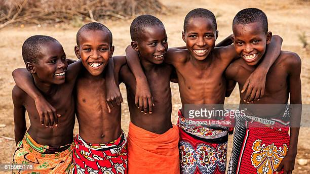 Group of happy African boys from Samburu tribe, Kenya, Africa