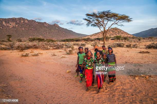 group of happy african children, east africa - village stock pictures, royalty-free photos & images