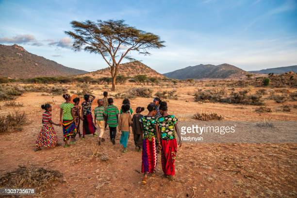 group of happy african children, east africa - horn of africa stock pictures, royalty-free photos & images