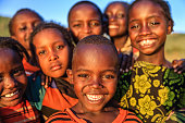 Group of happy African children, East Africa