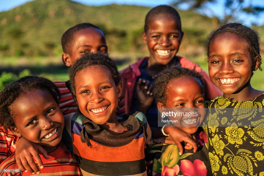 Group of happy African children, East Africa : Stock Photo