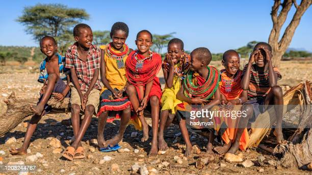 group of happy african children from samburu tribe, kenya, africa - east africa stock pictures, royalty-free photos & images
