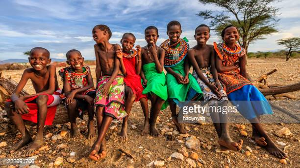group of happy african children from samburu tribe, kenya, africa - east african tribe stock pictures, royalty-free photos & images