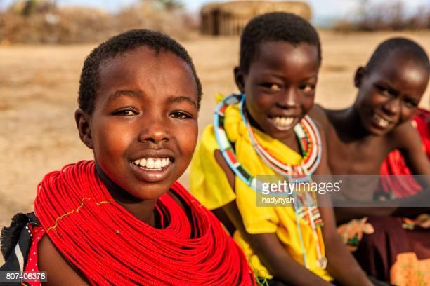 Group of happy African children from Samburu tribe, Kenya, Africa