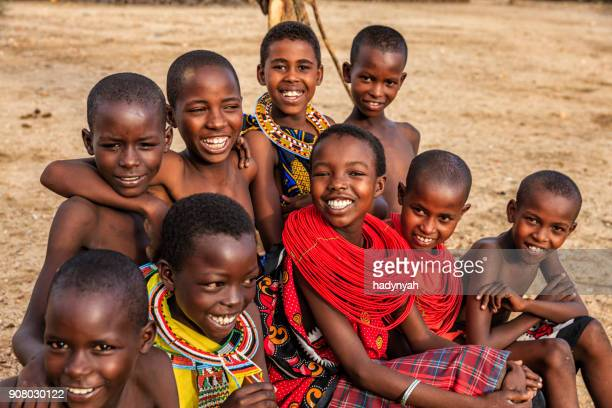 group of happy african children from samburu tribe, kenya, africa - african tribal culture stock pictures, royalty-free photos & images
