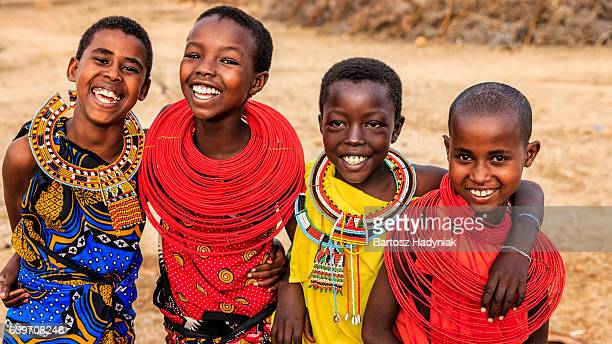 Group of happy African girls from Samburu tribe, Kenya, Africa