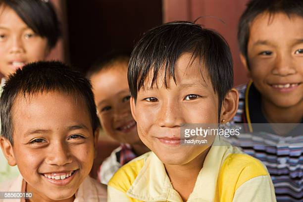Group of happy Burmese children