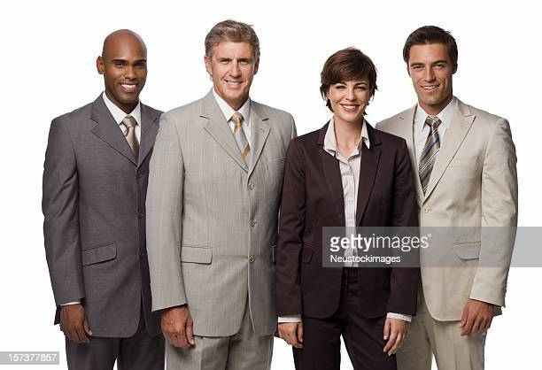 Group of happy businesspeople standing together