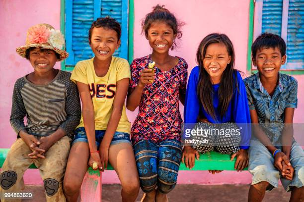group of happy cambodian children, cambodia - cambodian culture stock photos and pictures