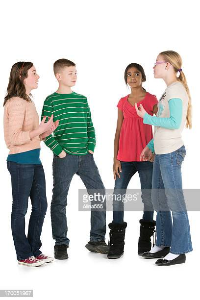 Group of happy diverse pre-teens on white background