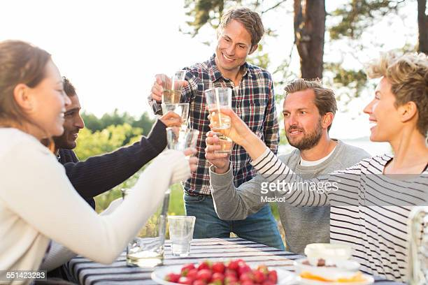 Group of happy friends toasting beer glasses during lunch at picnic table