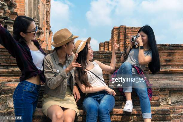 group of happy girls having fun. - ayuthaya province stock pictures, royalty-free photos & images
