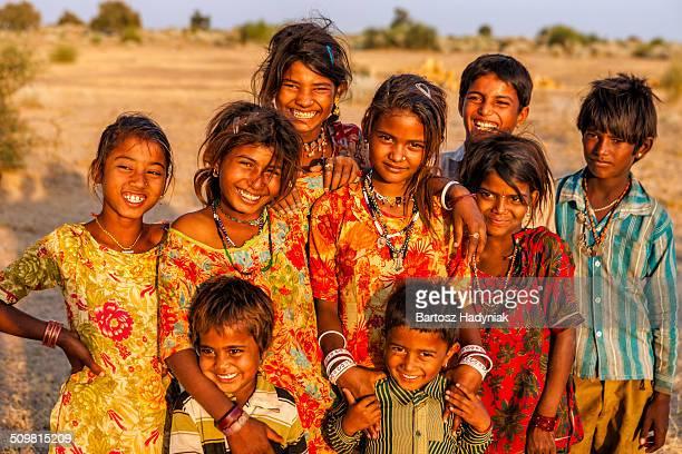 Group of happy Indian children on Thar Desert