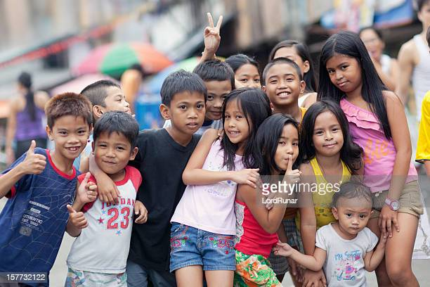 group of happy kids - manila philippines stock pictures, royalty-free photos & images