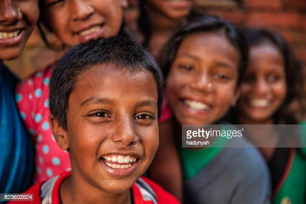 Group of happy Nepalese children in Bhaktapur, Kathmandu Valley