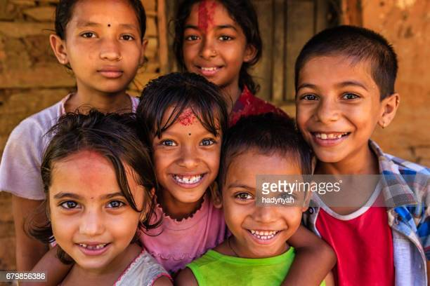 Group of happy Nepali children near Pokhara