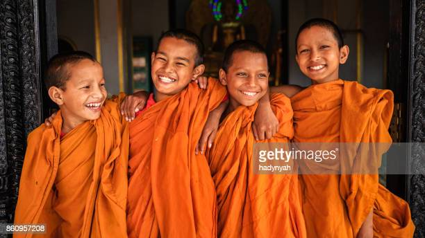 Group of happy Novice Buddhist monks, Bhaktapur