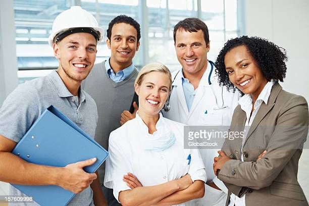 Group of happy people with different professions