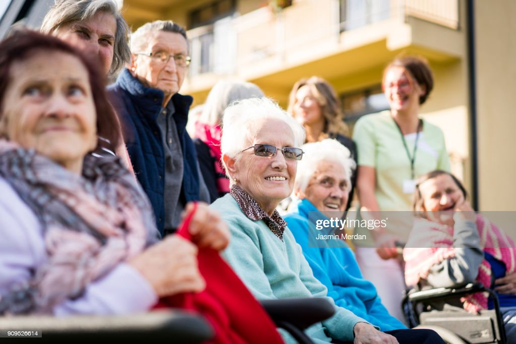 Group of happy senior people together outdoor : Stock Photo