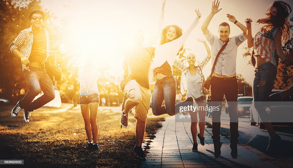 Group of happy youngsters. : Stock Photo