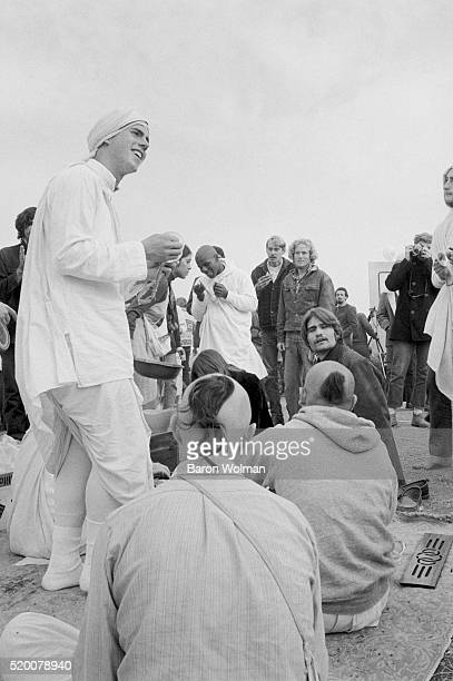 A group of Hare Krishna gather at the Altamont Speedway Free Festival in Northern California held on Saturday December 6 1969