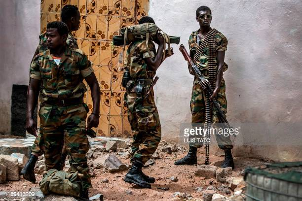 Group of heavily armed Ethiopian soldiers deployed in Somalia as part of the African Union peacekeeping mission patrol in Beledweyne, Somalia, on...