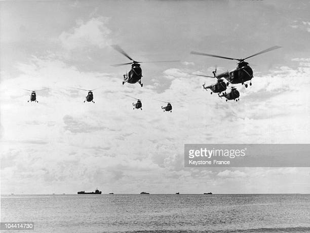 A group of helicopters that have just taken off from an American aircraft carrier are in the front lines August 5 for 5 hours American aircrafts...