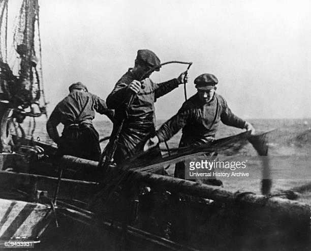 Group of Herring Fishermen North Sea onset of the Silent Documentary Film 'Drifters' 1929