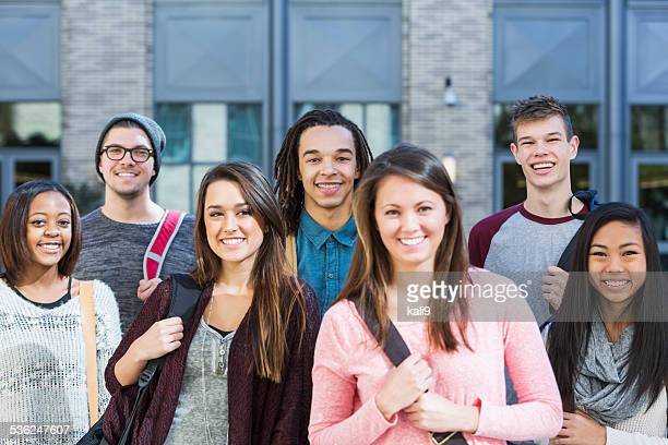 group of high school or college students - high school building stock pictures, royalty-free photos & images