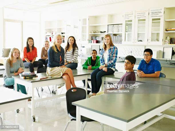 Group of high school students in lab classroom