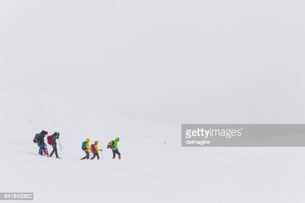 Group of hiker trekking on snowy field during snowfall