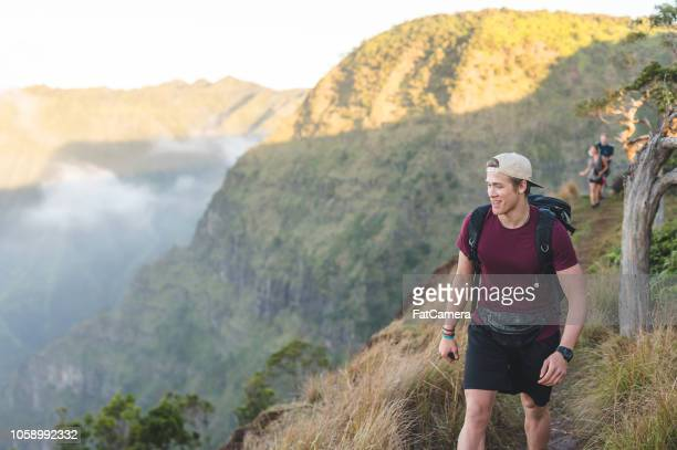 group of hikers in the hawaii mountains - waimea canyon stock pictures, royalty-free photos & images