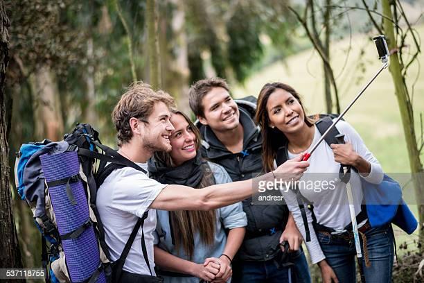 Group of hikers taking a selfie