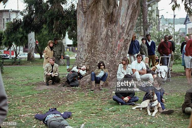 A group of hippies gathered around a large tree during a happening at Golden Gate Park San Francisco California 1960s