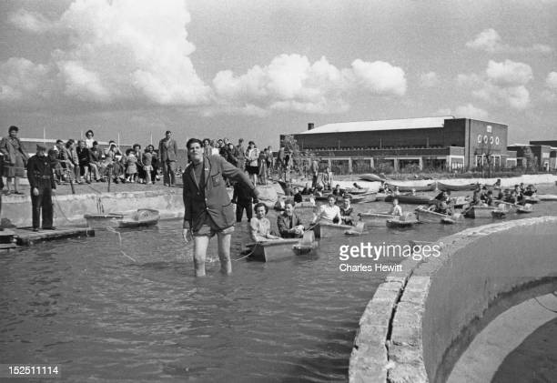 A group of holidaymakers at a Butlin's holiday camp in Filey North Yorkshire 1946 Original Publication Picture Post 4136 Life In A Holiday Camp pub...